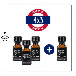 PACK 4 POPPERS SUPER RUSH BLACK LABEL 24ML